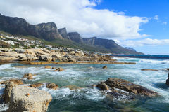 Camps Bay Beach and Twelve Apostles Mountain Stock Image