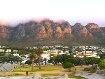 Camps Bay beach in twilight sunset view Royalty Free Stock Photos