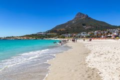 Camps bay beautiful beach with turquoise water and mountains in Cape Town. South Africa royalty free stock images