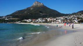 Camps Bay near Cape Town, in the Western Province of South Afric. CAPE TOWN, SOUTH AFRICA - 16 OCT, 2014: The view of beach in Cape Town on Oct 16, 2014. Cape Stock Photography