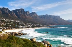 Camps Bay is the popular tourist destination in Cape Town, South Africa royalty free stock photos
