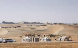 Camp in a desert during AL Dhafrah festival stock photos