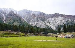 Camps at Fairy Meadows top. Fairy Meadows is reachable by a twelve kilometer-long jeepable trek starting from Raikot bridge on Karakoram Highway to the village stock images