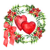 Campsis de fleur de guirlande, ruban, coeurs, aquarelle illustration libre de droits