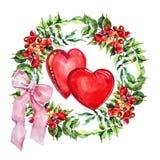 Campsis de fleur de guirlande, ruban, coeurs, aquarelle Photo libre de droits