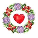 Campsis, flores de la hortensia enrruella, acuarela del corazón Foto de archivo libre de regalías