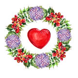 Campsis,  hydrangea flowers wreath , heart watercolor Royalty Free Stock Photo