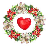 Campsis, lily  flowers wreath , heart watercolor Royalty Free Stock Photography