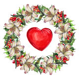 Campsis, lily  flowers wreath , heart watercolor Royalty Free Stock Images