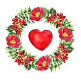 Campsis, peony  flowers wreath , heart watercolor Royalty Free Stock Photo