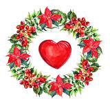 Campsis, poinsettia  flowers wreath , heart watercolor Royalty Free Stock Photos