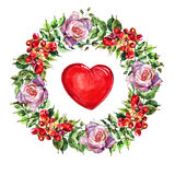 Campsis, rose  flowers wreath , heart watercolor Royalty Free Stock Photos