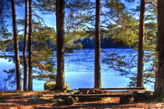 Campsite. With at the beautiful lake in hdr stock images