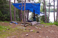 A Campsite in the Boundary Waters Canoe Area. The Boundary Waters Canoe Area Wilderness (BWCAW) is a unique natural area located in the northern third of the royalty free stock image