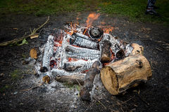 Campsite and Camp fire. Camping in the Maryland mountains with camp fire royalty free stock photography