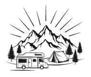 Campsite with camper caravan, tent, rocky mountains, pine forest. Family vacation outdoor scene vector illustration