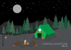 Campsite with camping tent, outdoor tourism scene. Vector illustration Royalty Free Stock Photography