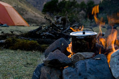 Campsite cooking stock photos