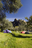 Campsite, Corte, Corsica. Tents on the grassy campsite, Corte, Corsica Royalty Free Stock Photography