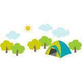 Campsite. Cute illustration of the campsite in the mountain Stock Photo
