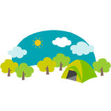Campsite. Cute illustration of the campsite in the mountain Royalty Free Stock Photo