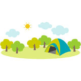 Campsite. Cute illustration of the campsite in the mountain stock illustration