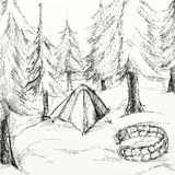 Campsite drawing. A black and white drawing of a campsite Royalty Free Stock Image
