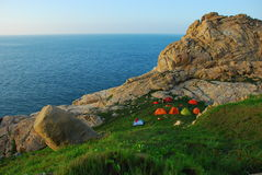 campsite góry morze Obraz Stock