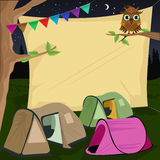 Campsite with a giant board stretched behind tents. Illustration of a campsite with a giant board stretched behind tents Royalty Free Stock Image