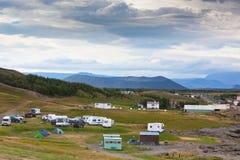 Campsite in Iceland, Mivatn lake area. Overcast weather stock photos