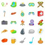 Campsite icons set, cartoon style Royalty Free Stock Photo
