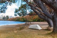 Campsite at Lake Pearson / Moana Rua Wildlife Refuge located in Craigieburn Forest Park in Canterbury, New Zealand. Campsite at Lake Pearson / Moana Rua Wildlife stock image