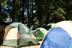 Campsite with many tents Royalty Free Stock Photos