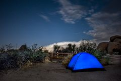 Lighted tent at campsite Royalty Free Stock Image