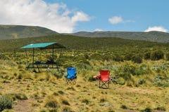 Campsite at Mount Kenya. Campsite mount kenya, Chogoria Route, Mount Kenya National Park  travel hike mountains trek trekking landscape camping tent royalty free stock image
