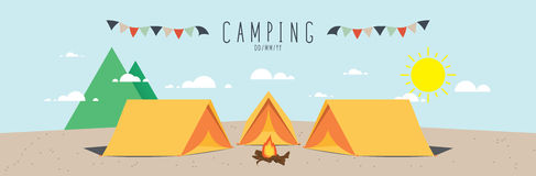 Campsite on mountain (Day). Illustration vector of a campsite. (Day Stock Photo
