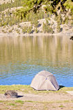 Campsite on Mountain Lake Stock Photos