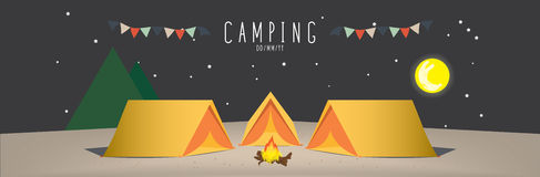 Campsite on mountain (Night). Illustration vector of a campsite. (Night Stock Image