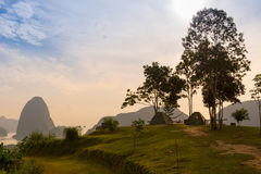 Campsite on mountain with river and mountain view in sunrise mor Royalty Free Stock Images