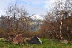 Campsite in the mountains of Georgia. Near Mount Kazbegi Royalty Free Stock Photography