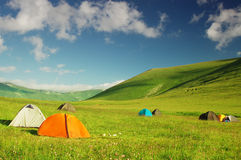 Campsite in the mountains stock photography