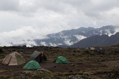 Campsite on Mt. Kilimanjaro. While acending the mountain. Tanzania. The highest mountain of Africa, 5,895 m, 19,341 ft. above sea level Stock Photography