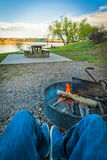 Campsite Near a Scenic Mountain Lake in Montana, USA Royalty Free Stock Image