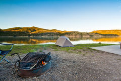 Campsite Near a Scenic Mountain Lake in Montana, USA Royalty Free Stock Photography