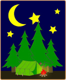 Campsite at night. Under the moon and the stars Royalty Free Stock Image