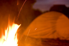Campsite at Night with Fire Royalty Free Stock Images