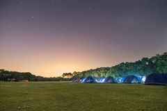 Campsite at Night. A picture of a campsite at night with starry sky royalty free stock photo