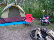 Our Campsite Set up and ready. The Campsite once set up and ready for a night by the fire royalty free stock images