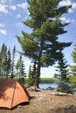 Campsite with orange tent and fire on a northern Minnesota lake. During summer royalty free stock photography