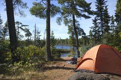 Campsite overlooking Boundary Waters lake in Minnesota Royalty Free Stock Photos